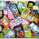 Cell phones. Painting by Frances Browne