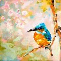 Painting by artist Frances Browne. Hawthorn.  Kingfisher.