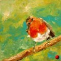 Painting by artist Frances Browne. Robin red-breast.