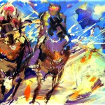 Racehorses. Painting by Frances Browne.